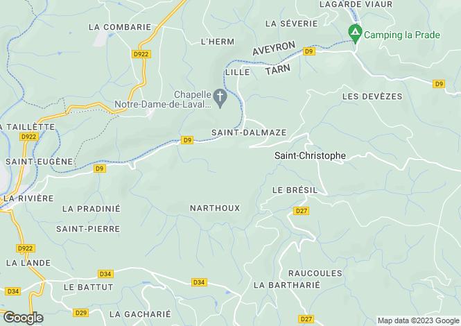 Map for St-Christophe, Tarn, Midi-Pyrénées