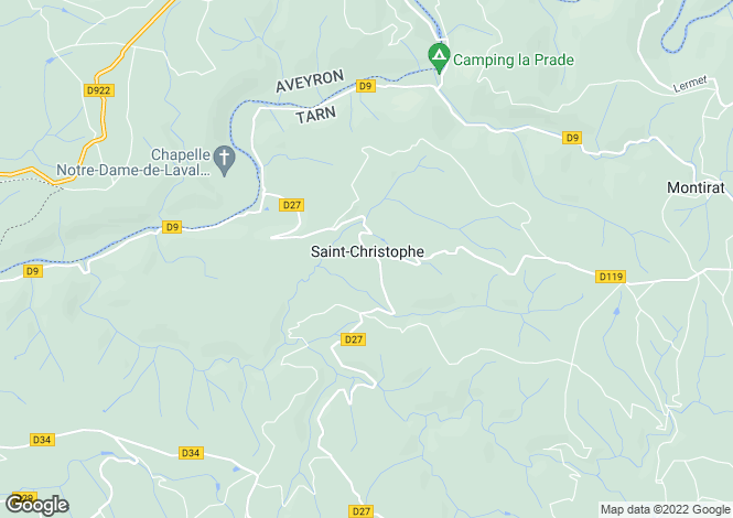 Map for Midi-Pyrénées, Tarn, St-Christophe