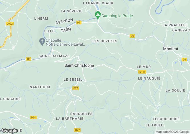 Map for Midi-Pyrénées, Tarn, St-Christophe