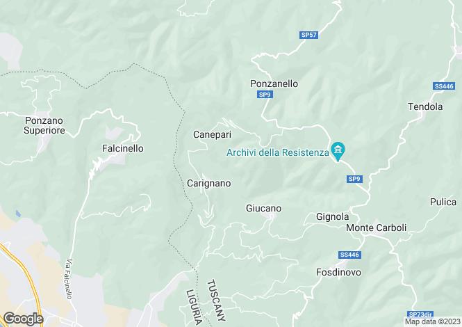 Map for Tuscany, Lunigiana, Fosdinovo