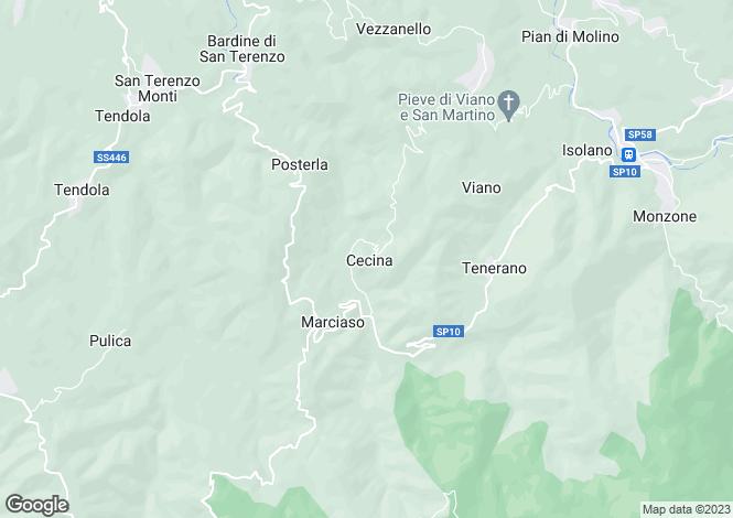 Map for Tuscany, Lunigiana, Fivizzano