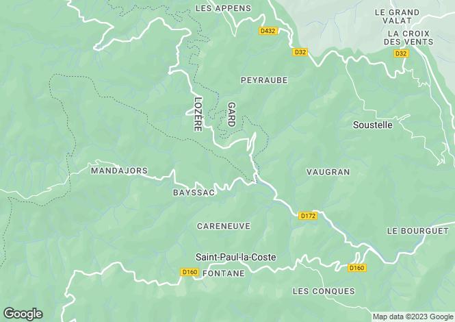 Map for Languedoc-Roussillon, Gard, St-Paul-la-Coste