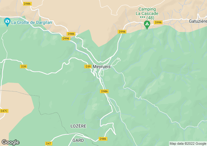 Map for Languedoc-Roussillon, Lozère, Meyrueis