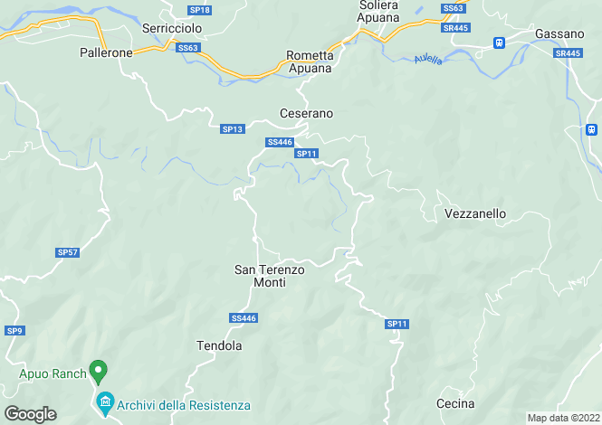 Map for Fivizzano, Lunigiana, Italy