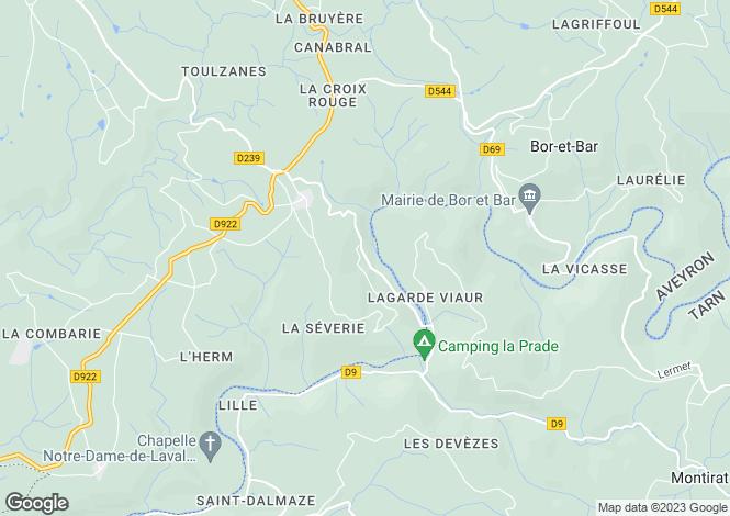 Map for Midi-Pyrénées, Aveyron, St-André-de-Najac