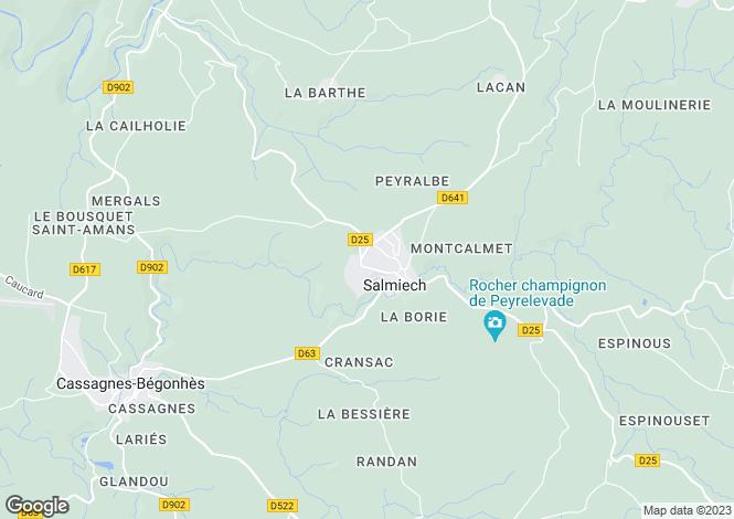 Map for Midi-Pyrenees, Aveyron, Salmiech