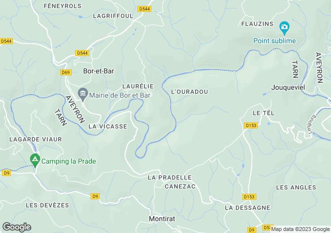 Map for Midi-Pyrénées, Aveyron, Bor-et-Bar