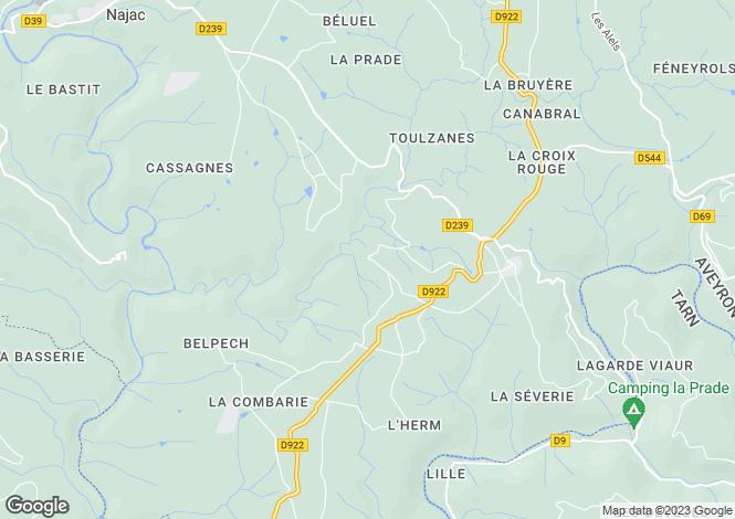 Map for St-André-de-Najac, Aveyron, Midi-Pyrénées