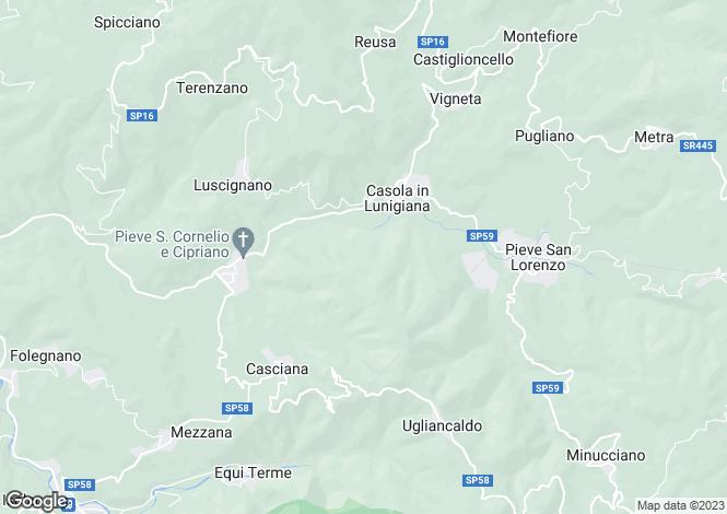 Map for Casola in Lunigiana, Lunigiana, Tuscany