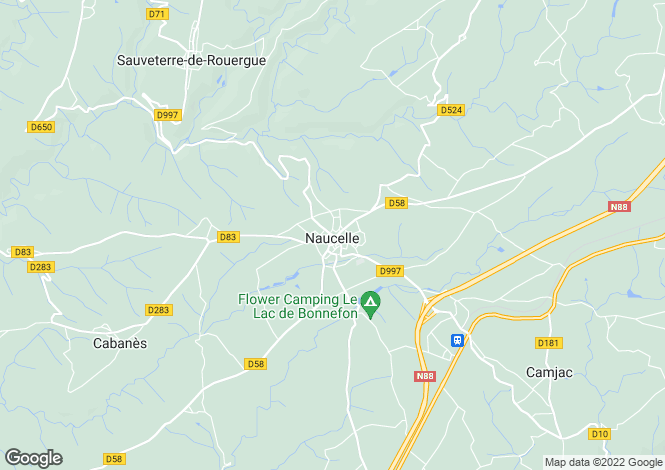 Map for Midi-Pyrenees, Aveyron, Naucelle