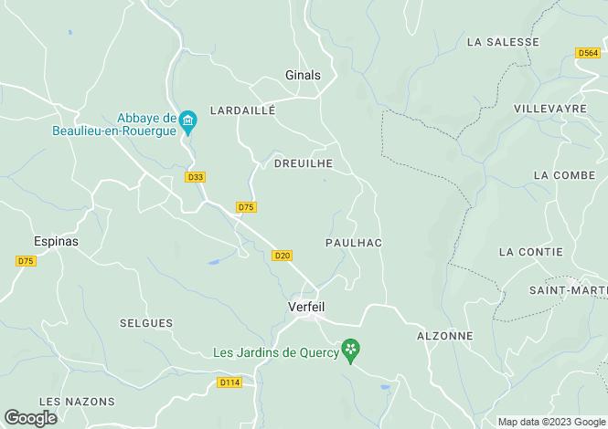 Map for Midi-Pyrénées, Tarn-et-Garonne, Verfeil