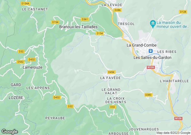 Map for Les Salles-du-Gardon, Gard, Languedoc-Roussillon
