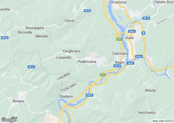 Map for Podenzana, Lunigiana, Italy