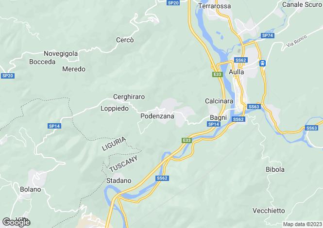 Map for Tuscany, Lunigiana, Podenzana