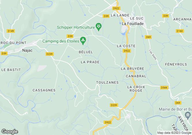 Map for Villefranche de Rouergue, Aveyron