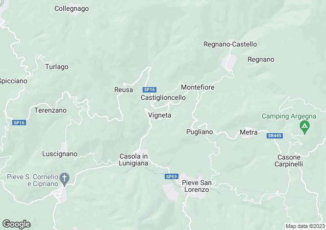 Map for Tuscany, Massa e Carrara, Casola in Lunigiana