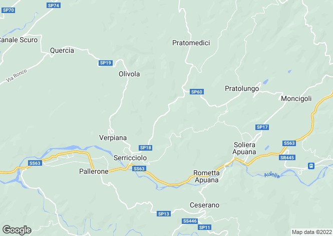 Map for Fivizzano, Lunigiana, Tuscany
