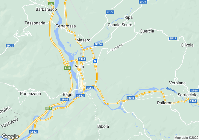 Map for Tuscany, Lunigiana, Aulla