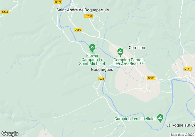 Map for Languedoc-Roussillon, Gard, Goudargues