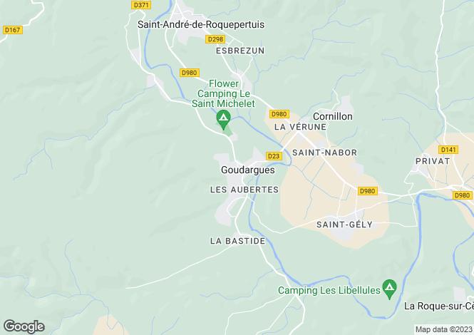 Map for GOUDARGUES, Nîmes, Avignon, Uzès Area, Provence - Var,