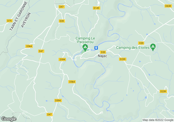 Map for Midi-Pyrenees, Aveyron, Najac