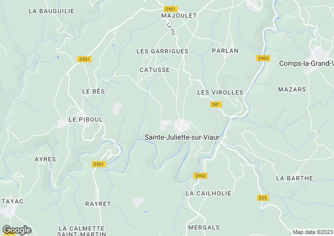 Map for Midi-Pyrenees, Aveyron, Sainte-Juliette-sur-Viaur