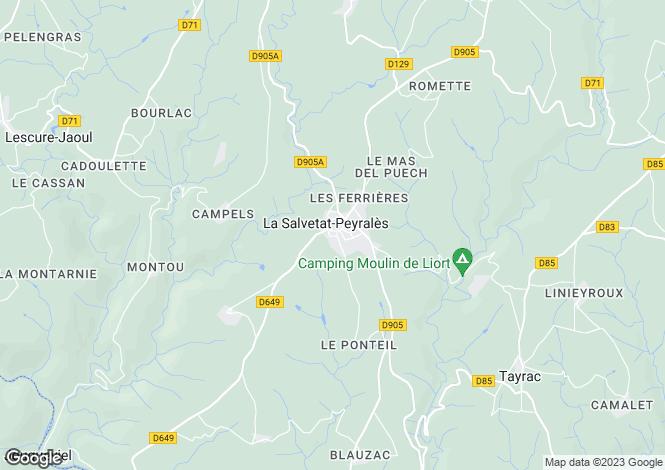 Map for Midi-Pyrénées, Aveyron, La Salvetat-Peyralès