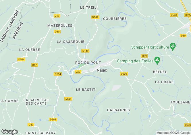 Map for Najac, Aveyron, Midi-Pyrénées