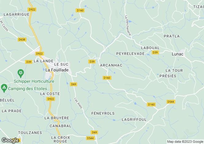 Map for La Fouillade, Aveyron, Midi-Pyrénées