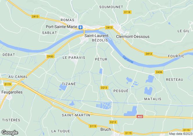 Map for Aquitaine, Lot-et-Garonne, St-Laurent