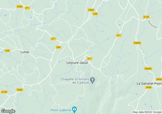 Map for Midi-Pyrenees, Aveyron, Lescure-Jaoul