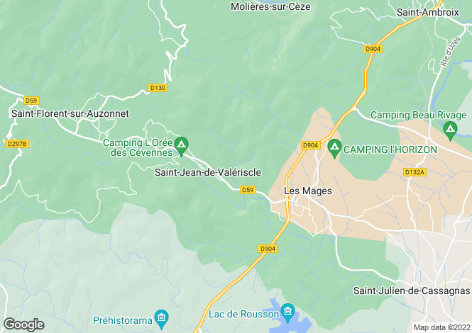 Map for Languedoc-Roussillon, Gard, Les Mages