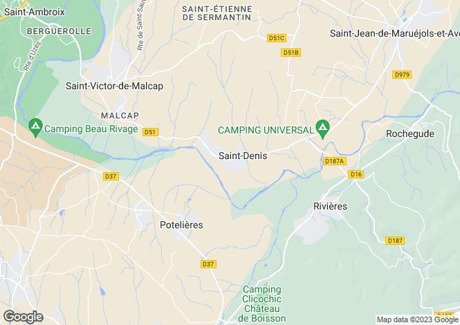 Map for Potelières, Gard, Languedoc-Roussillon