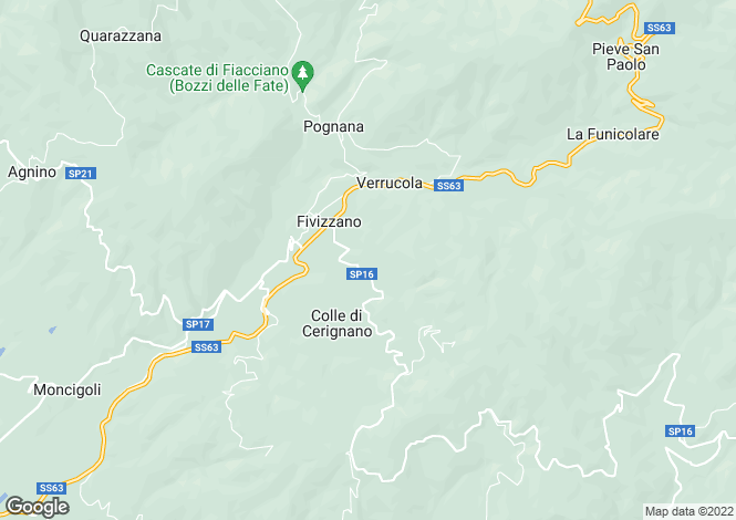 Map for Tuscany, Lunigiana, Fivizzano