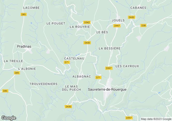 Map for Sauveterre-de Rouergue, Aveyron, Midi-Pyrénées