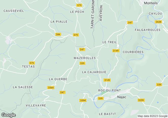 Map for Midi-Pyrénées, Aveyron, Najac