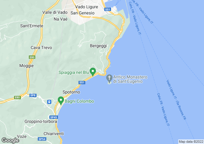 Map for Liguria, Savona, Bergeggi
