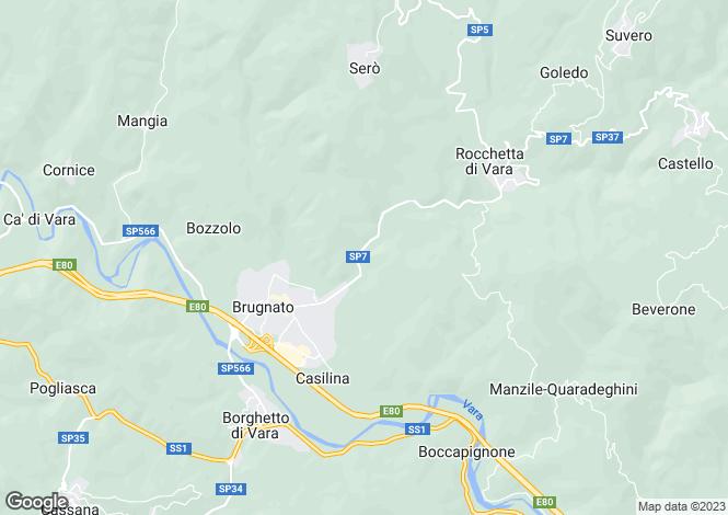 Map for Brugnato, La Spezia, Italy