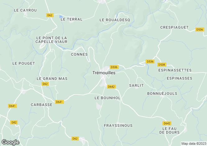 Map for Midi-Pyrenees, Aveyron, Trémouilles