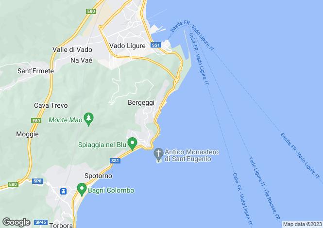 Map for Bergeggi, Savona, Liguria