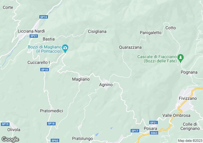 Map for Fivizzano, Lunigiana, Tuscany