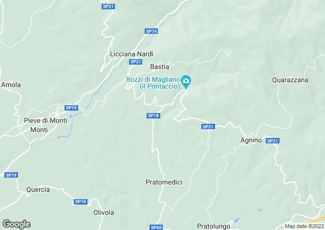 Map for Massa e Carrara, Lunigiana, Tuscany