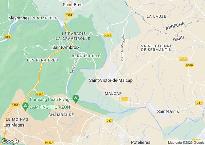 Map for st-victor-de-malcap, Gard, France