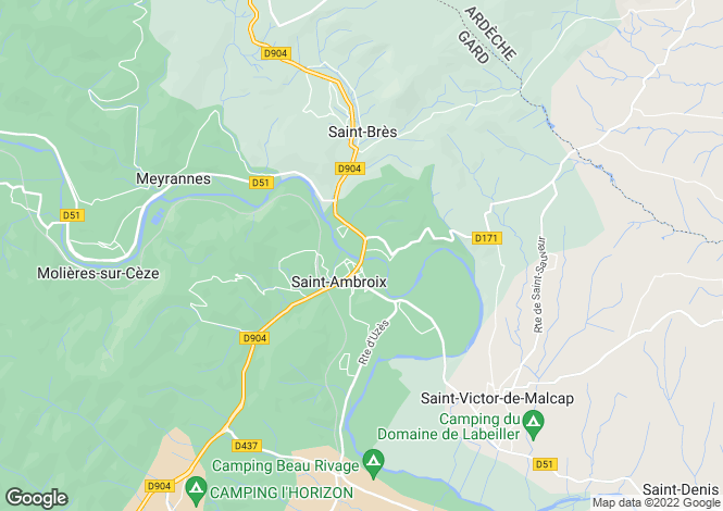 Map for Languedoc-Roussillon, Gard, St-Ambroix