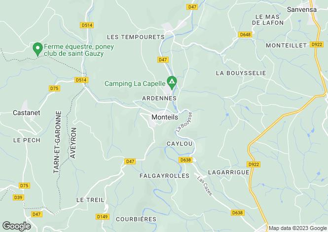 Map for Midi-Pyrénées, Aveyron, Monteils