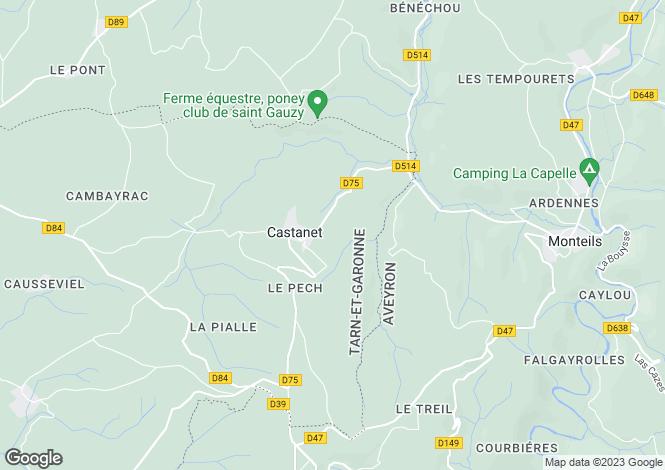 Map for Midi-Pyrénées, Tarn-et-Garonne, Castanet