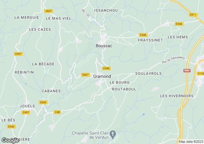 Map for Midi-Pyrenees, Aveyron, Gramond