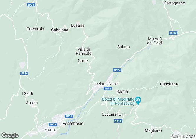 Map for Tuscany, Lunigiana, Licciana Nardi