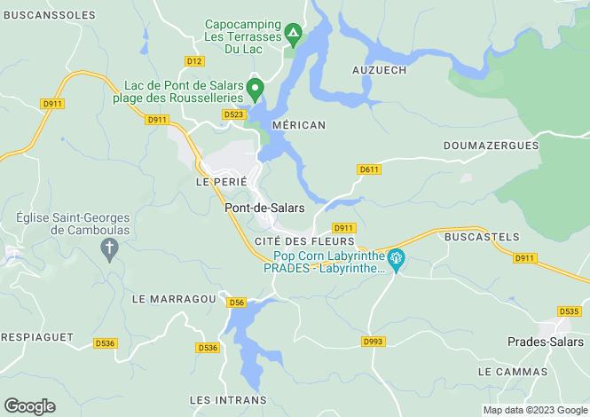 Map for Midi-Pyrenees, Aveyron, Pont-de-Salars
