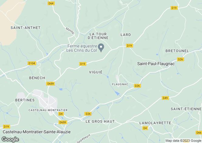 Map for Midi-Pyrénées, Lot, Flaugnac